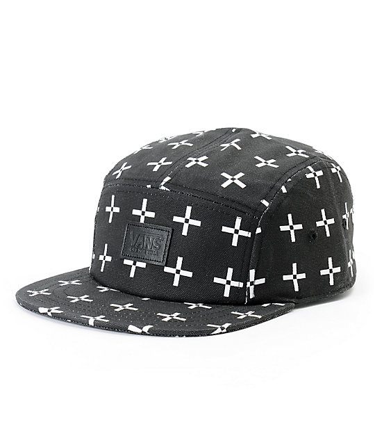 Vans Cross Print Black 5 Panel Hat