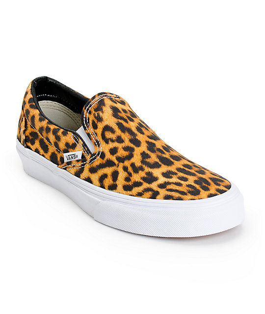 leopard vans slip ons for women