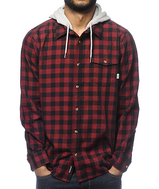 Vans Eckleson Red & Black Hooded Long Sleeve Button Up Shirt at ...