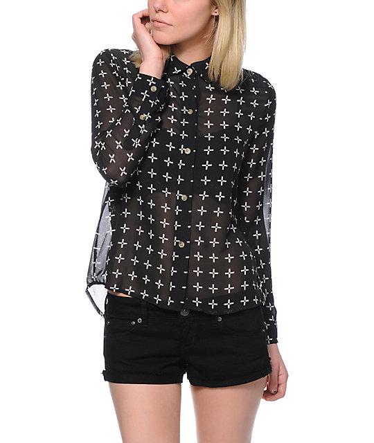 Vans Effie Crosses Black Chiffon Button Up Shirt