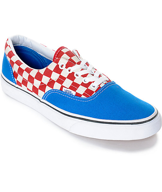 Vans Era 2-Tone Checkered Blue & White Skate Shoes at Zumiez : PDP