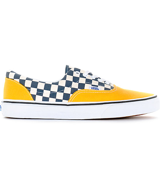 Vans Era 2-Tone Checkered Yellow & White Skate Shoes