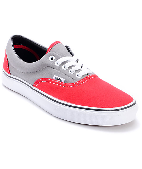 Vans Era 2-Tone Grey & Red Skate Shoes (Mens)