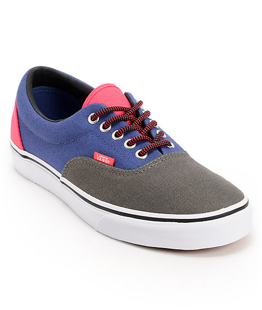 vans era 3 tone charcoal navy pink skate shoe at
