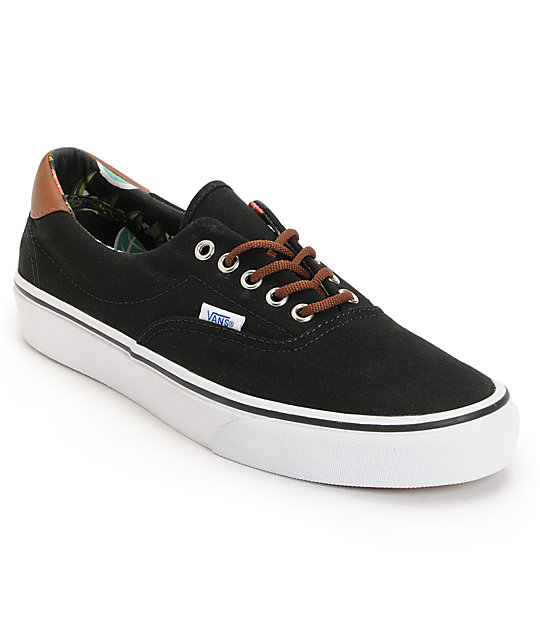 Vans Era 59 Black & Aloha Print Canvas Skate Shoes (Mens)