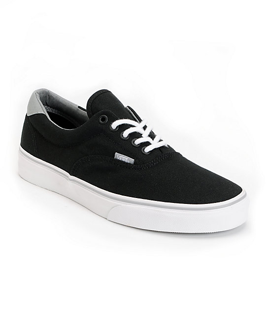 Vans Era 59 Black & Grey Canvas Skate Shoes (Mens)