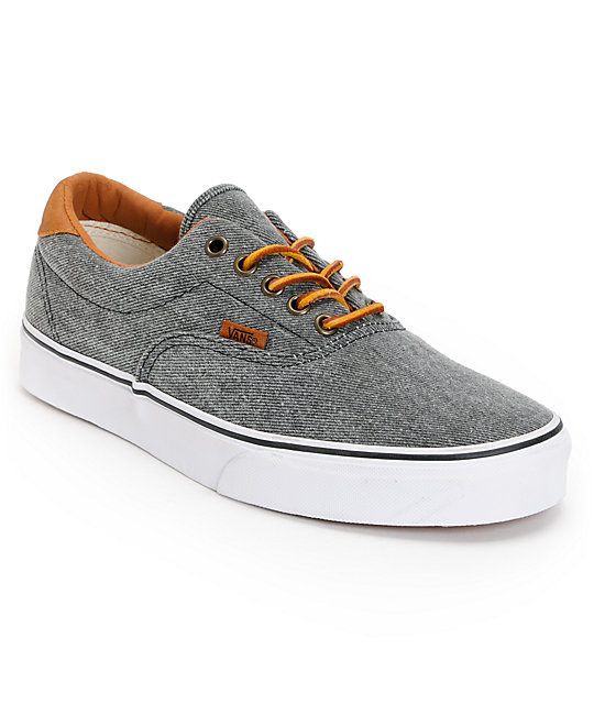 Vans Era 59 Black & Twill Skate Shoes (Mens)