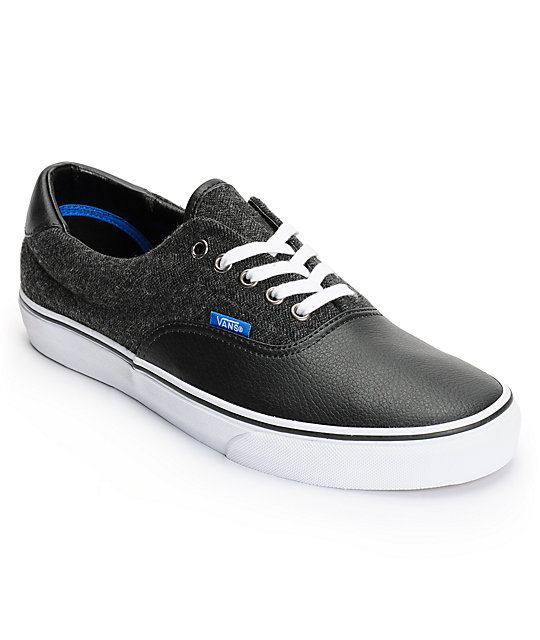 Vans Era 59 Black & White Wool Skate Shoes (Mens)