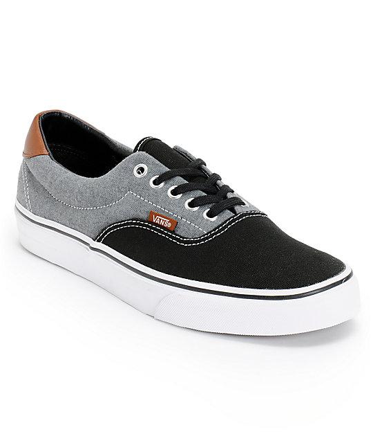Vans Era 59 Black Canvas & Chambray Skate Shoes