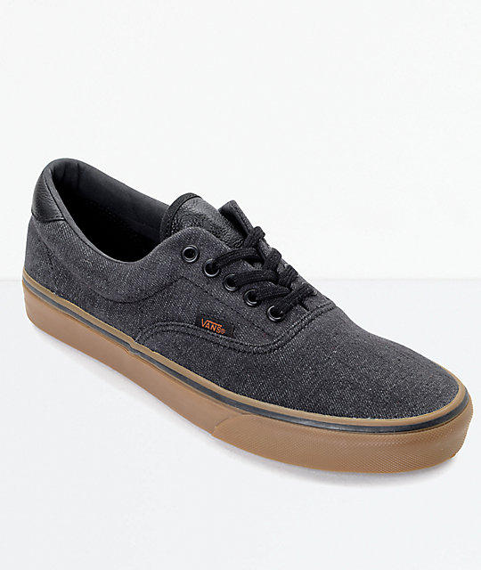vans era 59 black. vans era 59 cl black denim \u0026 gum skate shoes
