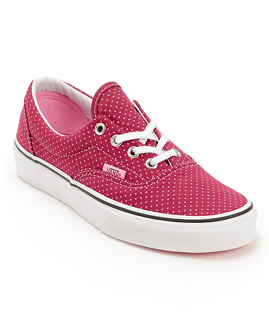 Vans Era Beet Red & Begonia Pink Polka Dot Shoes (Womens)