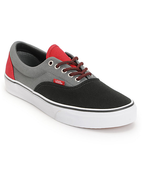 Vans Era Black, Castle Rock, & Red Skate Shoes (Mens)