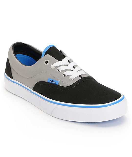 Vans Era Black, Grey, & Blue Skate Shoes (Mens)