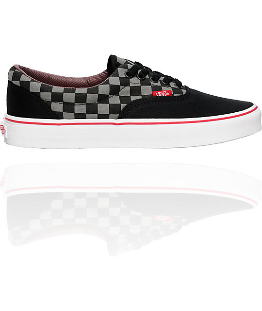 Vans Era Black, Pewter & Chili Pepper Chex Skate Shoes