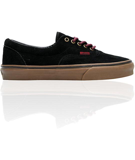 Vans Era Black, Port & Gum Suede Skate Shoes