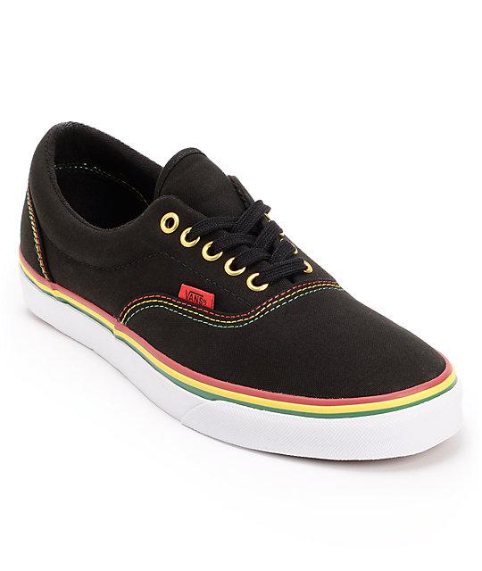 Vans Era Black & Rasta Canvas Skate Shoes (Mens)