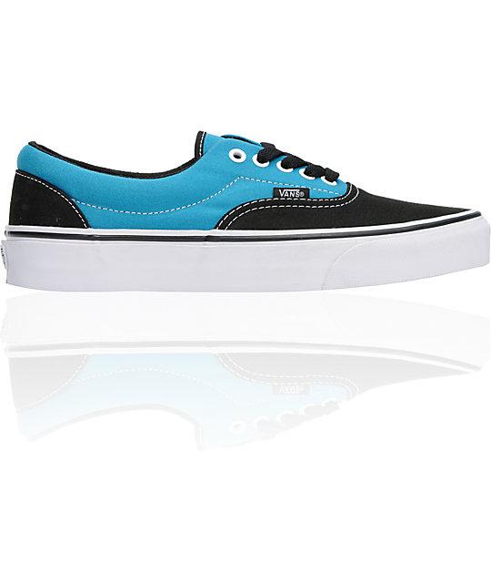 Vans Era Black & Turquoise Two-Tone Canvas Skate Shoes