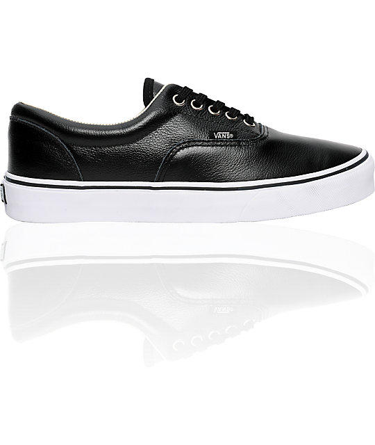 Vans Era Black Leather Skate Shoes (Mens)