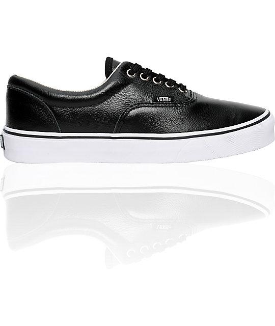 Vans Era Black Leather Skate Shoes