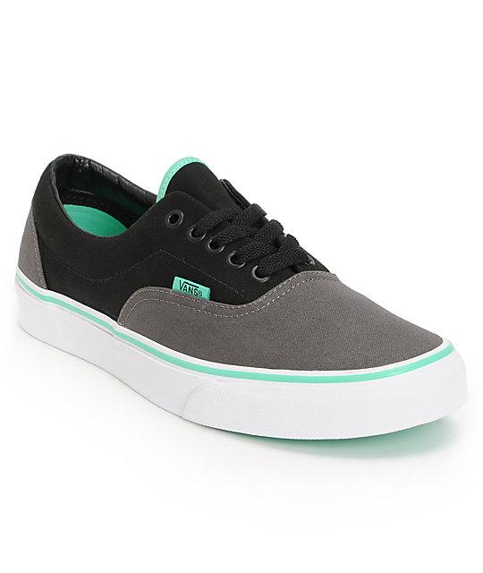 Vans Era Charcoal Black Mint Green Skate Shoes