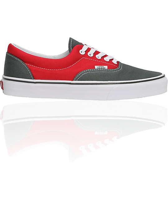 Vans Era Charcoal & Red Shoes