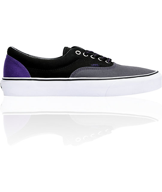 Vans Era Dark Shadow & Black Tri-Tone Canvas Skate Shoes (Mens)