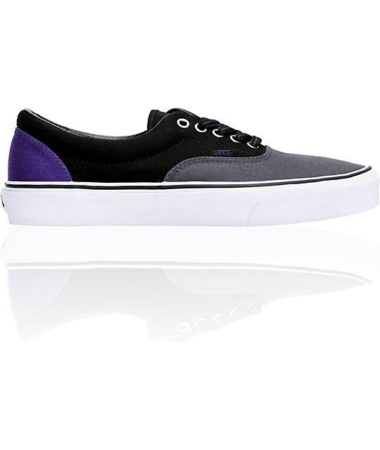 Vans Era Dark Shadow & Black Tri-Tone Canvas Skate Shoes
