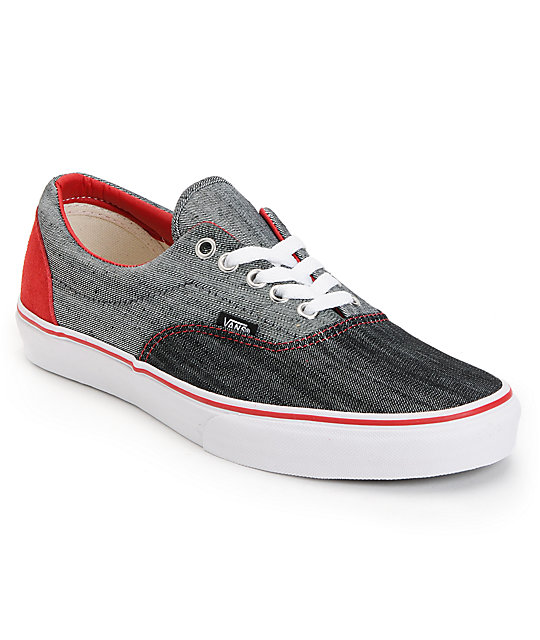 Vans Era Denim Black & True White Skate Shoes