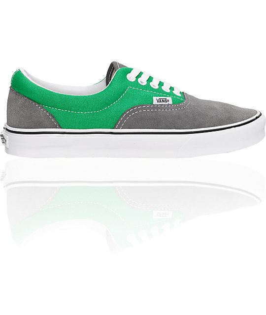 Vans Era Grey Suede & Green Skate Shoes
