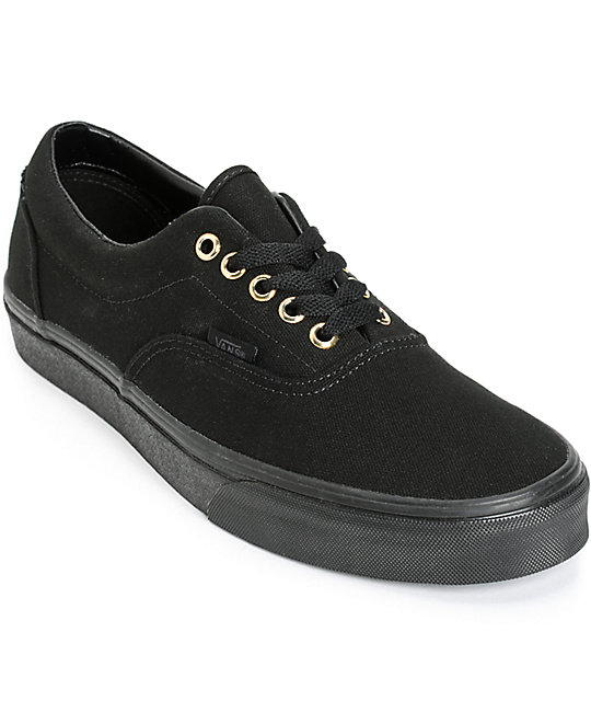 Vans Black Leather Fashion Sneakers Vans Era Mono Shoes