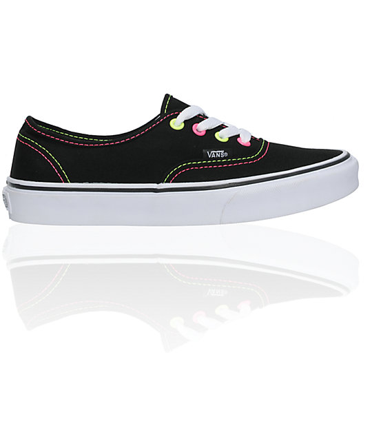 Vans Era Neon Black, Pink & Yellow Canvas Skate Shoess