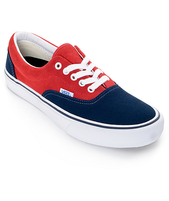 vans era blue red and grey