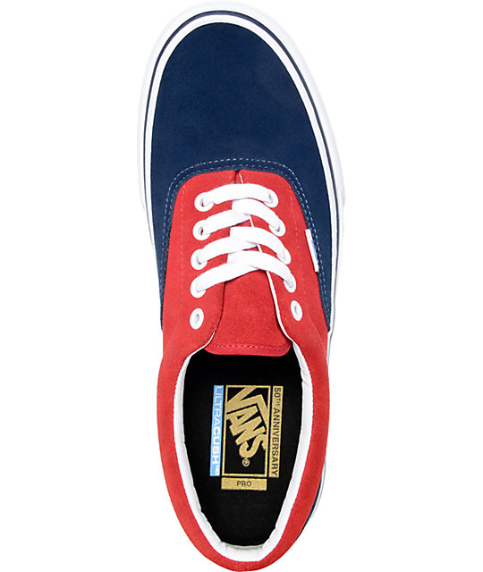 Vans Era Pro Th Navy And Red Skate Shoes