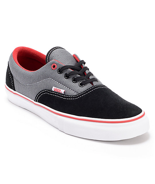 Vans Era Pro Black Twill & Scarlet Skate Shoes (Mens)