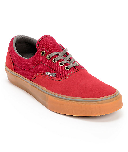 Vans Era Pro Red & Gum Skate Shoes