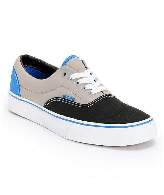 Vans Era Tri-Tone Black, Grey, & Blue Skate Shoes (Mens)