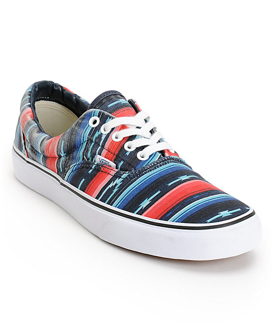 Vans Era Van Doren Multi Stripe Blue Canvas Skate Shoes (Mens)