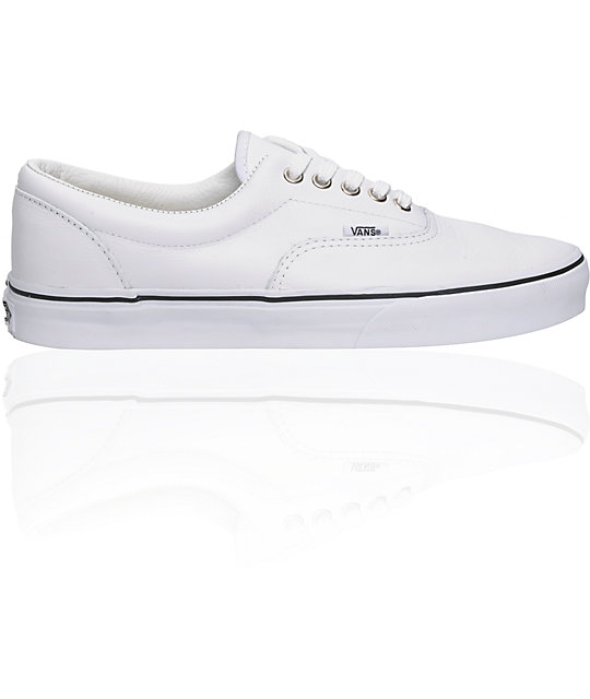 Vans Era White Leather Skate Shoes (Mens)