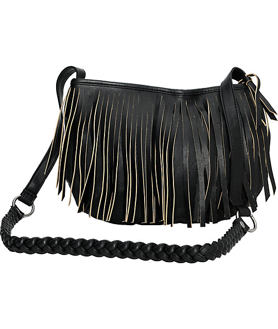 Vans Fringed Up Black Cross-Body Purse