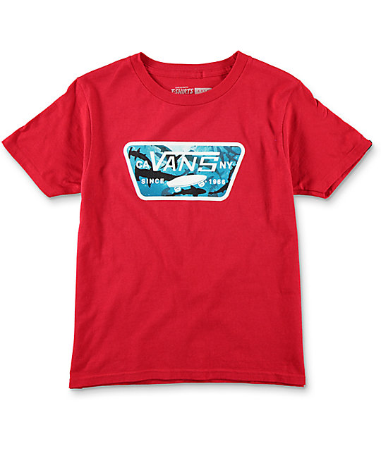 Vans Full Patch Boys Cardinal T-Shirt