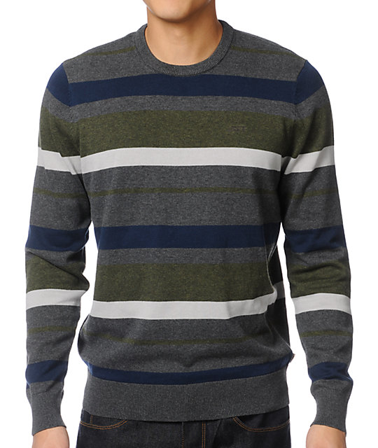 Vans Gaines Charcoal Grey Stripe Crew Neck Sweater