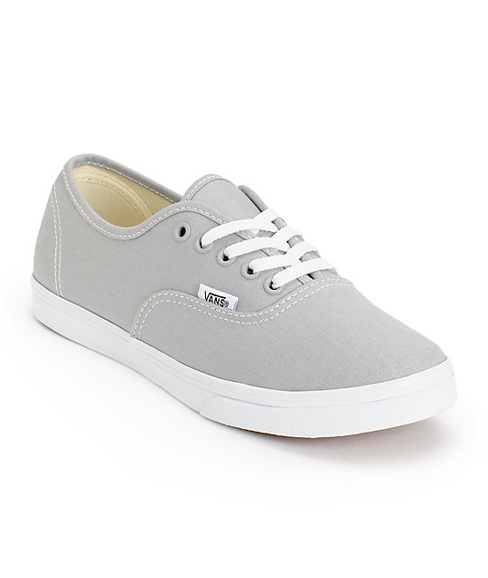 Vans Girls Authentic Lo Pro High Rise Grey & True White Shoes at ...