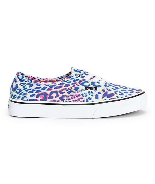 Vans Girls Authentic Multicolor Leopard Print Shoes