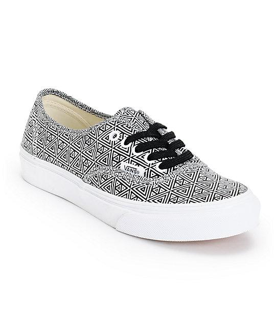 Vans Girls Authentic Slim Black & White Geo Print Shoes (Womens)