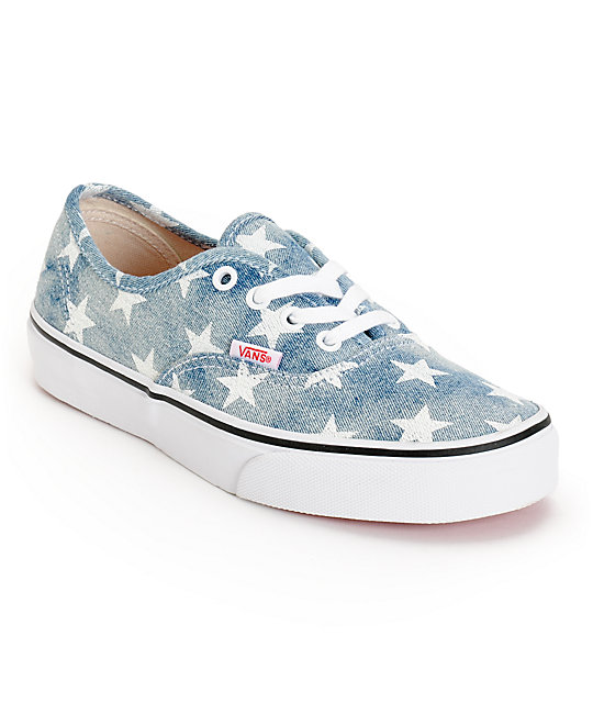 Vans Girls Authentic Washed Stars Blue Shoes (Womens)