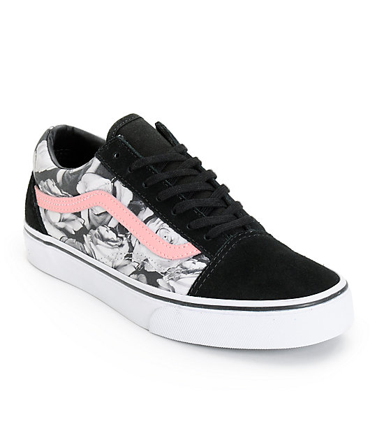 Vans Girls Old Skool Digi Rose & Black Shoes (Womens)