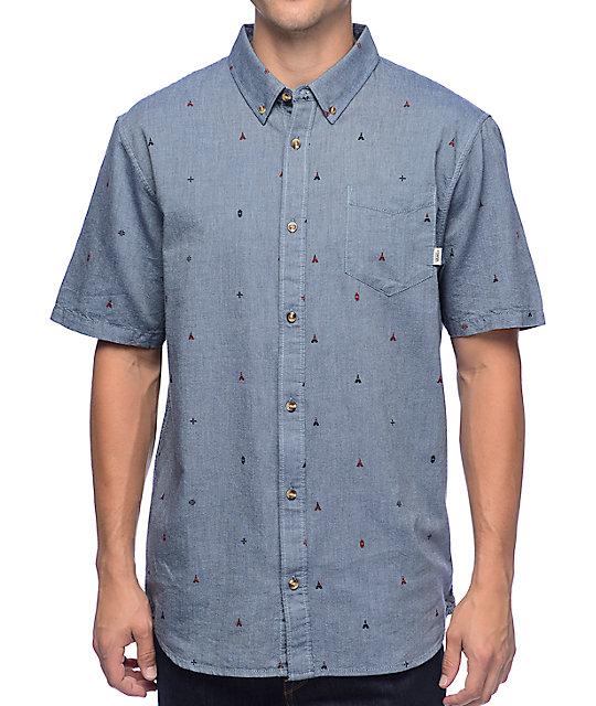 Vans Houser Blue Woven Button Up Short Sleeve Shirt