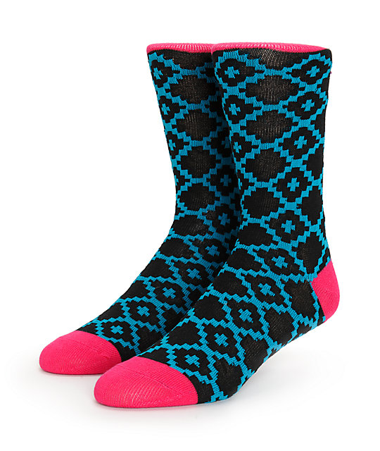Vans Kaley Blue Geo Print Crew Socks