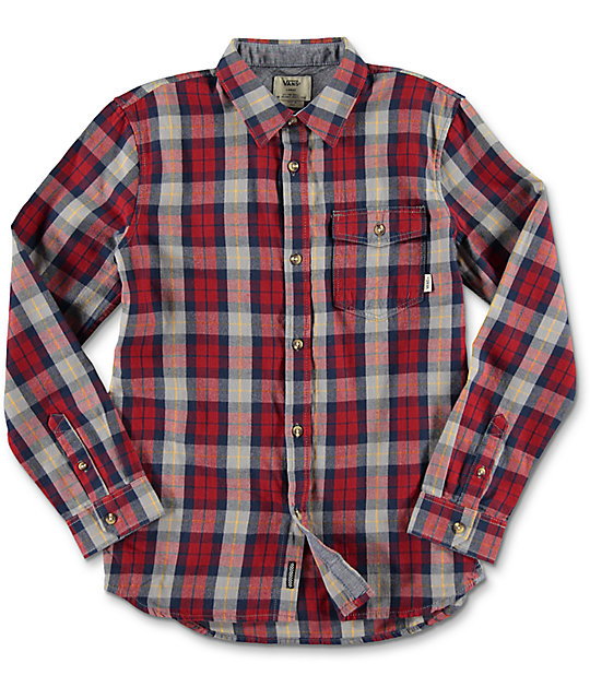 Vans Lachlan Red Dahlia & Frost Grey Boys Flannel Shirt