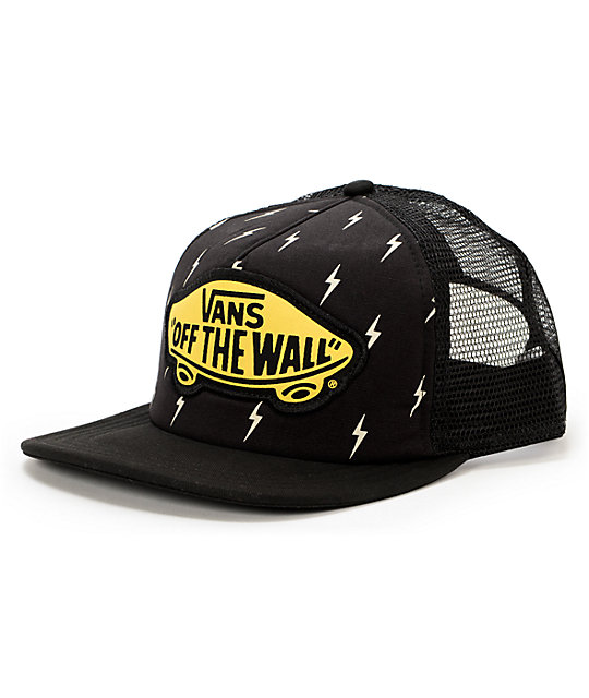 Vans Lightning Bolt Beach Girl Black Trucker Hat